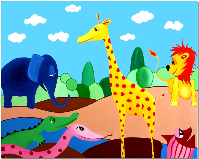 Kinderbilder fürs kinderzimmer giraffe  GALERIE BERLINER MALEREI - Kinderbilder des Künstlers Anil Kohli ...